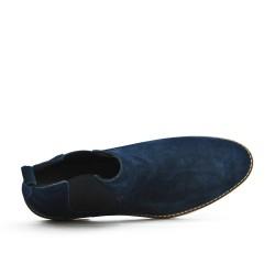 Bottine bleu marine en croûte de cuir avec élastique