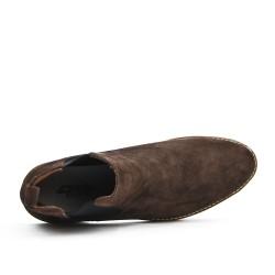 Bottine marron en croûte de cuir avec élastique