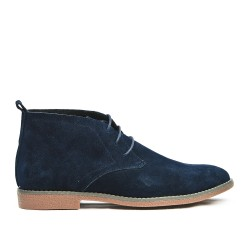 Navy blue lace leather crinkle boot