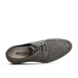 Gray derby in leather lace crust