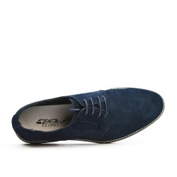 Derby navy blue leather lace-up