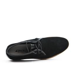 Bota de arruga de cuero de encaje negro