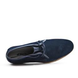 Bota de arruga de cuero de encaje azul marino