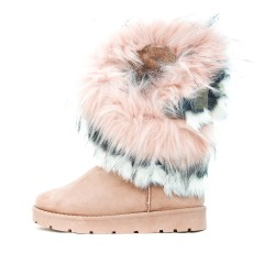 Pink ankle boot with fur
