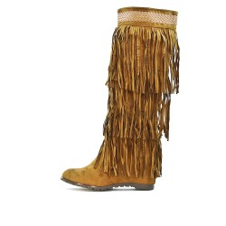 Fringed camel wedge boot