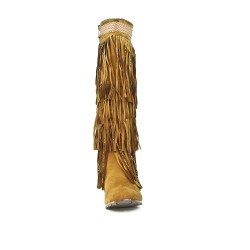 Fringed camel wedge boot