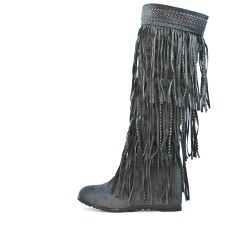 Fringed gray wedge boot