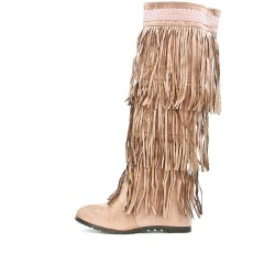 Fringed pink wedge boot