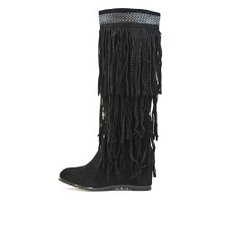 Black fringed wedge boot