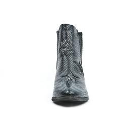 Bottine noire en simili cuir texturé à motif étoile