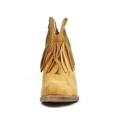 Bottine camel en simili daim à frange