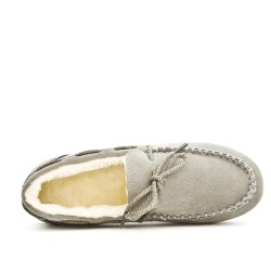Chausson gris style mocassin