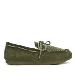 Green slipper moccasin style