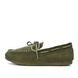 Chausson vert style mocassin