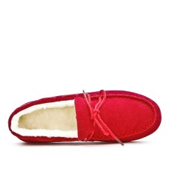 Chausson rouge style mocassin