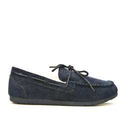 Blue moccasin style slipper