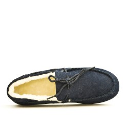 Chausson bleu style mocassin