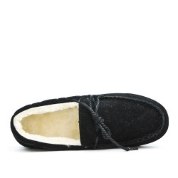 Chausson noire style mocassin