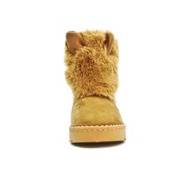 Girl's camel boot with rabbit pattern