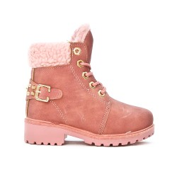 Pink girl boot with lace