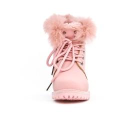 Botas de niña rosa con encaje