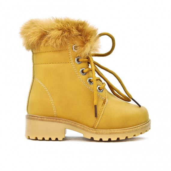 Chaussures 2018 bonne vente vente limitée Bottine fille camel fourrée à lacet