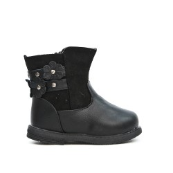 Black girl boot with flower pattern