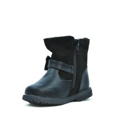 Black girl boot with bow pattern