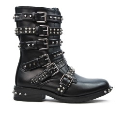 Black imitation leather boot with flanges