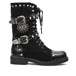 Black two-material boot with lace and buckled bridles