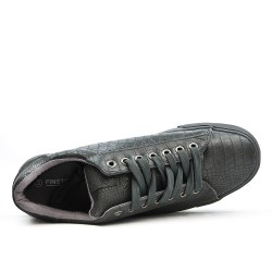 Basket grise en simili cuir imprimé croco
