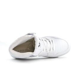 Basket montante blanche en simili cuir à lacet