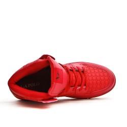 Basket montante rouge en simili cuir à lacet