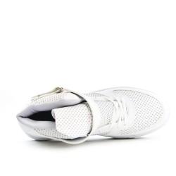 Basket montante blanche en simili cuir
