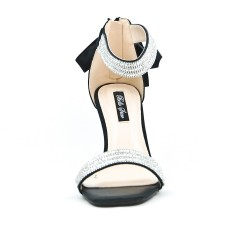 Sandale noire à nœud au dos