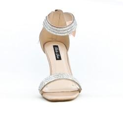 Sandale beige à nœud au dos
