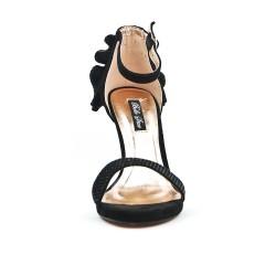 Sandale noire à volant au dos