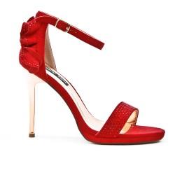 Sandale rouge à volant au dos