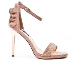 Sandale rose à volant au dos