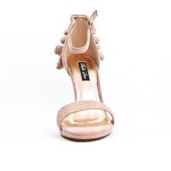 Pink sandal with ruffle on the back