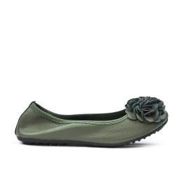 Ballerine confort vert foncé à motif fleur