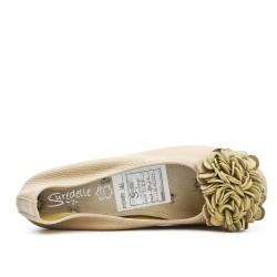 Ballerine confort beige à motif fleur