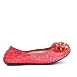 Ballerine confort rouge à motif fleur