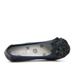 Ballerine confort bleu foncé à motif fleur avec petit talon