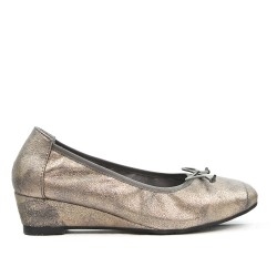 Comfort gray ballerina with bow with small heel