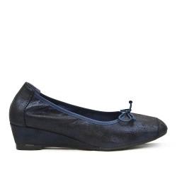 Bailarina de confort azul marino con lazo con tacón pequeño