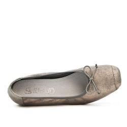 Ballerine confort gris à nœud avec petit talon