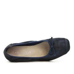 Navy blue comfort ballerina with bow with small heel