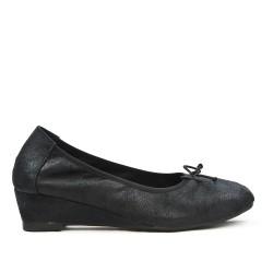 Bailarina de confort negro con lazo con tacón pequeño
