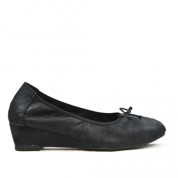 Black comfort ballerina with bow with small heel
